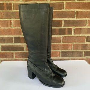 BP black leather chunky heel knee high boots
